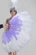 "White & Aqua Violet 2 layers Ostrich Feather Fan  30""x 54"" with gift box"