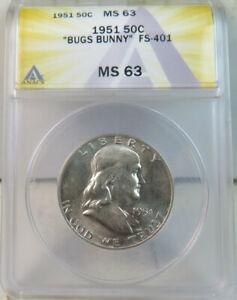 1951 Franklin half dollar ANACS MS63 *FS 401 Bugs Bunny* BR