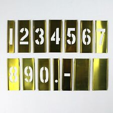 Vintage Set of Adjustable Brass Number Stencils 0 THROUGH 9 + Dot & Dash