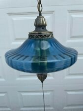 Vtg Mcm Swag Electric Blue Ufo Lamp