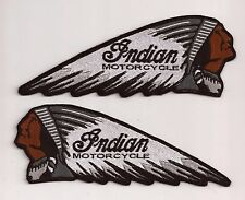 SET OF 2 INDIAN MOTORCYCLE CHIEF EMBROIDERY SEW ON PATCH WHITE / GREY