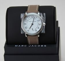 NEW AUTHENTIC MARC JACOBS RILEY SILVER CEMENT GREY LEATHER WOMENS MJ1468 WATCH