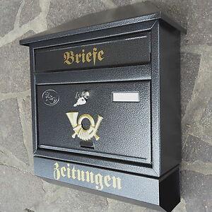 XXL Briefkasten Postkasten Anthrazit mit Zeitungsrolle Wandmontage Nostalgie Neu