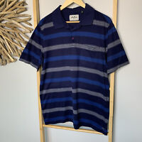 Adamsville Size M Men's Polo Shirt Blue Striped Cotton Regular Fit