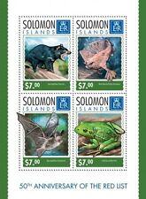 Solomon Island 2014 Red List Endangered Animals Frog Fish Bat Bear S/S SLM14319a