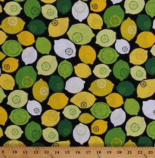 Lemons Limes Citrus Fruits Food on Black Cotton Fabric Print by Yard M707.58