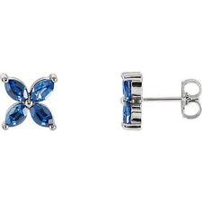 Chatham Künstlicher Blauer Saphir Ohrringe 14K Weiss Gold