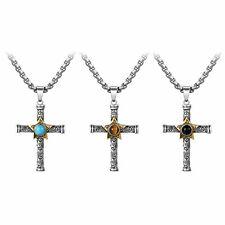 Men Tiger Eye Blue Turquoise Black Stone Cross Stainless Steel Necklace Pendant