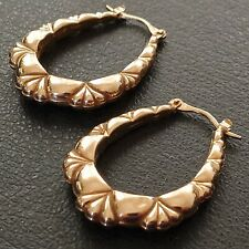 Vintage 9ct Yellow Gold Large Creole Hoop Earrings
