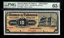 "Mexico RARE $10 Pesos""SPECIMEN""El Banco De Tabasco 1901 PMG 65"