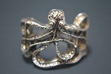 Goth Punk Biker Vintage Antique Silver Octopus Charm Ring 1.94cm XL
