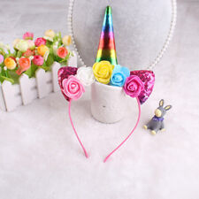 Unicorn Headband Shiny Horn Ears Flower Headdress for Kids Party Cosplay Costume