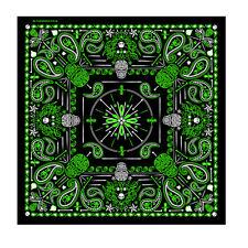 """Green Tribal Skulls Paisley Skulls Design 21"""" x 21"""" Bandana #1068"""