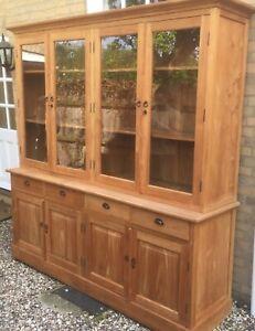 Welsh dresser, China Cabinet, glass doors, handmade/stunning craftsmanship, Oak