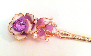 Enamel Art Rose Flower Design Hair Stick Stick with Crystal and Pearl Accent