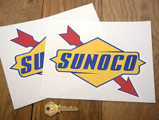 "SUNOCO Later Style Classic Car STICKERS 8"" Pair Race Petrol Pump Gas Station"