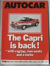 Autocar mgazine 2/3/88 featuring Ford Mustang, Chevrolet Camaro, Subaru,Vauxhall