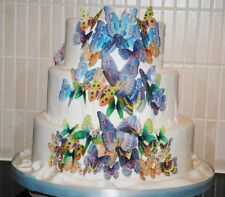 56 x PASTEL MIXED EDIBLE BUTTERFLIES IDEAL 4 WEDDING BIRTHDAY CAKE TOPPERS WB11