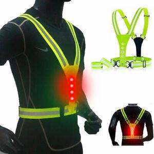 2PCS Hi Viz Reflective Cycling/Running Vest With LED Lights Mens/Womens UK STOCK