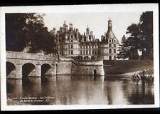 CHAMBORD (41) CHEVAUX à l'ABREUVOIR & CHATEAU , cliché debut 1900