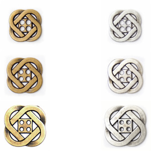 4 Hole Celtic Knot Flat Profile Metal Button in Silver or Bronze BF/8373