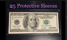 25 SEMI-RIGID Vinyl Money Protector Sleeves US Dollar Bill CURRENCY HOLDERS BCW
