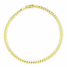 Real 10K Yellow Gold 3.5MM Womens Curb Cuban Curb Link Chain Bracelet Anklet 9""