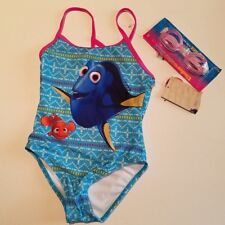 Girls Disney Pixar Finding Dory Blue Pink 1 piece Swimsuit  & Goggles Size 5/6
