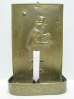 Brass Candlestick Candle Holder Sun Scrooge Counting Coins Wall Art Plaque