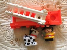Fisher Price Little People Vintage Fire Truck, Extension Ladder, Man, Dog