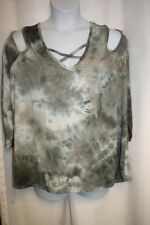 NEW WOMENS PLUS SIZE 4X GREEN TIE DYE CRISS CROSS NECK AND COLD SHOULDER TOP