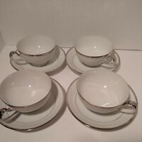Seyei Fine China (4) Coffee Cups & Saucers Japan #700 White/Silver Trim