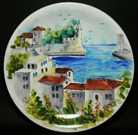 Signed POTTERY PLATE Display WALL Mount  ~ HAND PAINTED Mediterranean Scene