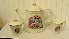 Danbury Mint Shirley Temple Porcelain Tea Set - Teapot, Creamer, Sugar Bowl