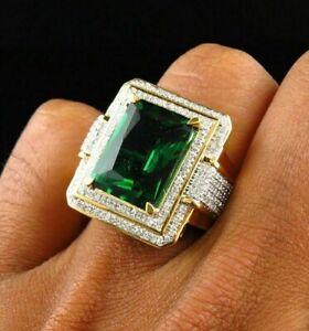 5Ct Green Emerald & Diamond Men's Classic Band Pinky Ring 14k Yellow Gold Finish