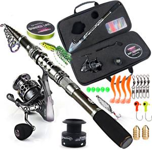 Cana De Pescar Y Carrete Para Agua Dulce, Telescopic Fishing Rod & Spinning Reel