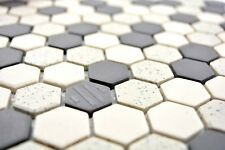 Mosaïque carreau céramique beige noir Hexagaon non vitré 11A-0113-R10_b 1 plaque