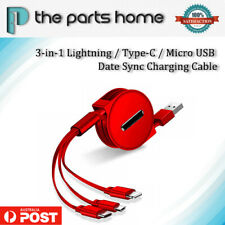 3 in 1 USB Charger Charging Cable Cord For iPhone Android Micro USB TYPE C - RED