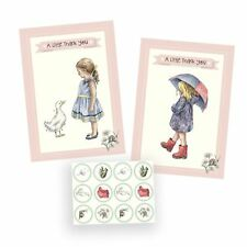 A Little Thank You - Girls-Snails & Pigtails - 8 Notecards, Envelopes & Stickers