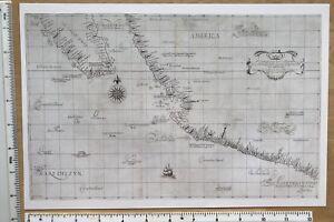 Historic old Antique Vintage MAP 1600's Southwest coast of America 1646 Reprint