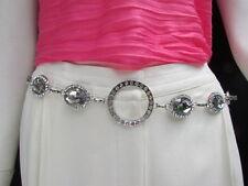 "Women Hip Waist Silver Metal Ring Chains Fashion Belt Big Beads 30""-45"" M L Xl"