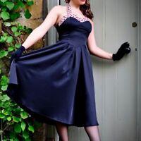 Lindy Bop Carola Navy Blue Dress Large Cotton Halter Swing Pin Up Polka Dot
