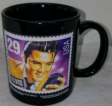1992 Elvis Presley 29 Cent USA Postage Stamp Commemerative Mug Cup Black