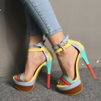 Women Multi-color Ankle Strap Platform High Heels Strap Stiletto Shoes Nightclub