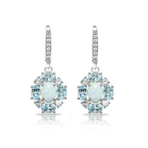 Simulated White Opal, Blue & white Topaz Oval Dangle Earrings in Sterling Silver