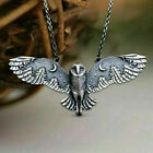 Silver Flying Owl Moon Forest Necklace Vintage Moon Phase Art Jewelry For Woman
