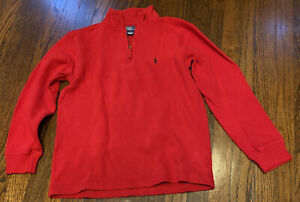 Boy's POLO Ralph Lauren Sweater LG 16/18 RED Pullover Long Sleeve 1/4 Zip VGC!