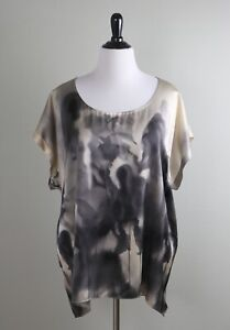 EILEEN FISHER Woman $228 Satin 100% Silk Abstract Floral Boxy Top Size 3X