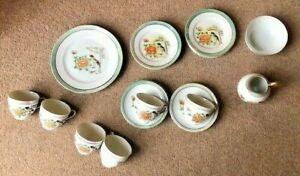 Vintage Oriental design tea set with birds & flowers Made in Japan - (No teapot)