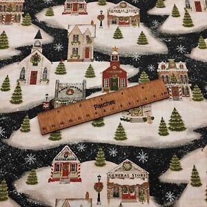 Christmas - Home for the Holidays - Village 100% Cotton Fabric Craft Cushion
